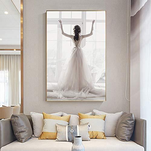 QAZEDC Canvas print decoratief schilderij Pretty Wit Bruidsjurk Meisje Schilderen Muur Art Foto voor Woonkamer Ballet Meisje Poster en Print