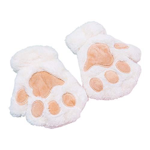 yanni Warme Handschuhe für Damen und Erwachsene, mit niedlichen Cartoon-Katzenpfoten, Stickerei, Anime, Kätzchen, dicker Plüsch, fingerlose Fäustlinge, Handwärmer