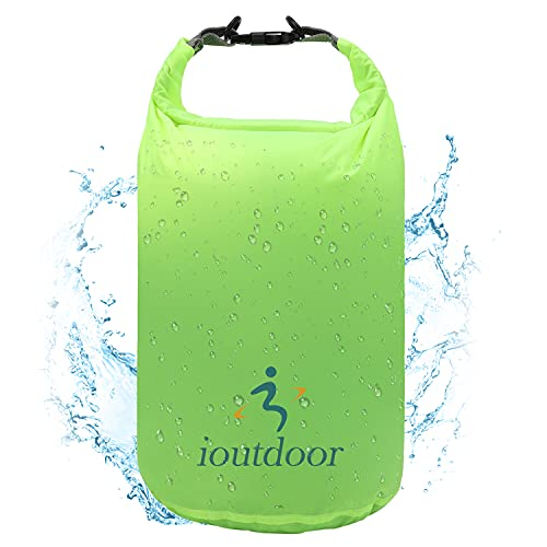 iOutdoor Products Bolsa Seca Impermeable Ligera - Sacos De Compresión Con Tapa Enrollable Para Kayak, Playa, Rafting, Canotaje, Senderismo, Natación, Camping [Verde - 20L]