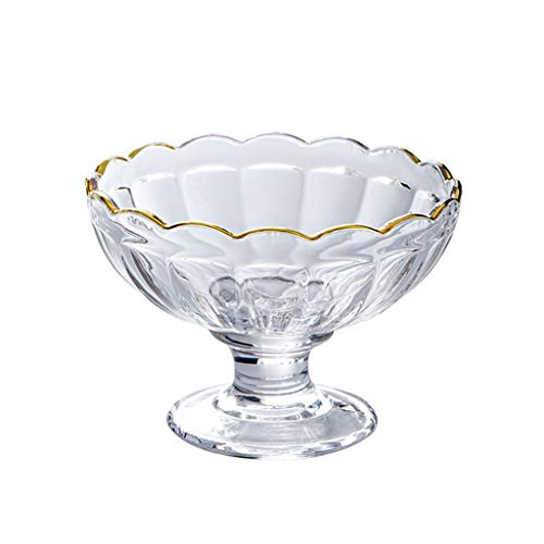 WxberG Cuencos de helado con pies: tazas de postre de 7 onzas – para hielo, pudín, fruta y más – platos de vidrio grueso para servir – Apto para lavavajillas (color: Type3)