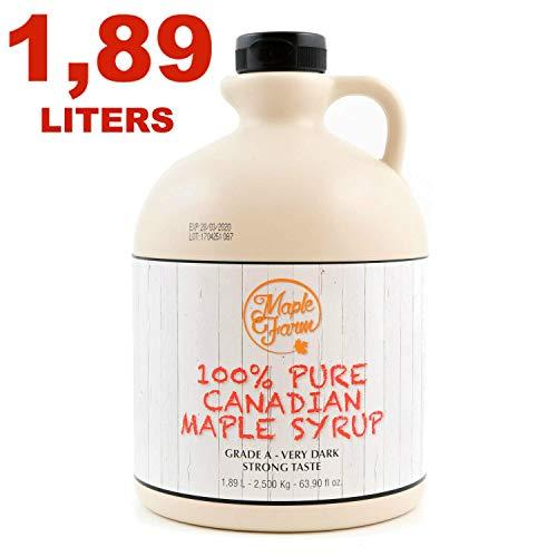 Puro sciroppo d'acero Canadese Grado A (Very dark, Strong taste) - 1,89 litri (2,50 Kg) - Original maple syrup - Puro succo d'acero