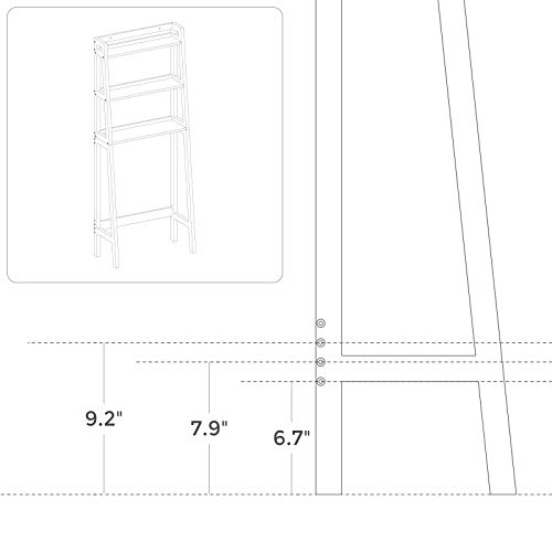 VASAGLE Toilet Storage Rack, Adjustable Bottom Bar, White
