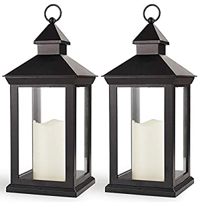 """Bright Zeal 2-Pack 14"""" Decorative Candle Lantern Black Outdoor Lanterns with Timer Candles - IP44 Waterproof Vintage Lanterns Battery Powered LED Decorative for Wedding - Hanging Wall Lanterns Indoor from BRIGHT ZEAL HOME LED PRODUCTS LLC"""