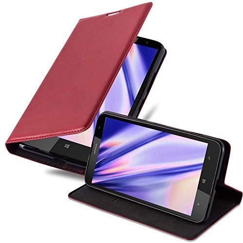 Cadorabo Hülle für Nokia Lumia 1520 in Apfel ROT - Handyhülle mit Magnetverschluss, Standfunktion & Kartenfach - Hülle Cover Schutzhülle Etui Tasche Book Klapp Style
