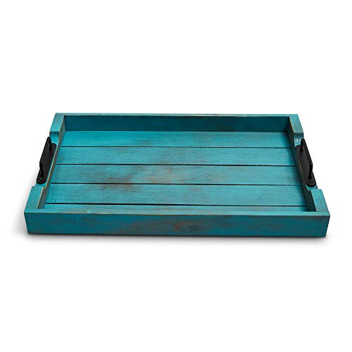 TIDEWATER DESIGN Decorative Wood Serving Tray with Vintage Finish and Handles - for coffee table and ottoman (Teal)