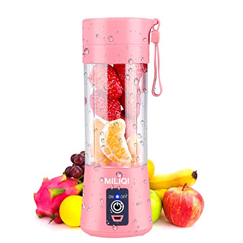 Portable Blender Personal Blender Mini Smoothies Shakes Juicer Cup USB Rechargeable Pink