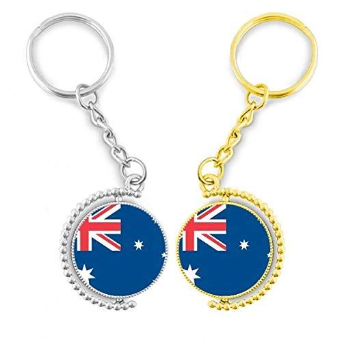 Diythinker Australia, oceania País Símbolo Mark diseño de la bandera nacional el anillo de metal dorado llavero – llaves de la llave