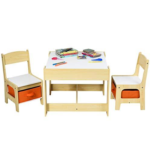 COSTWAY Set Tavolo e Sedie per Bambini in Legno, Scrivania Tavolino Multiuso con Sgabelli, con Lavagna Cassetti e Contenitore, Beige (Legno)