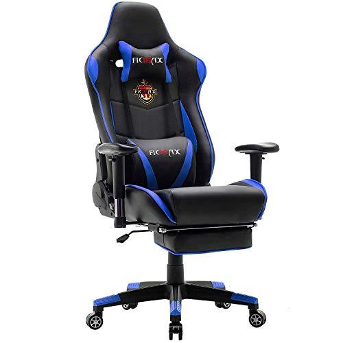 Ficmax Gaming Stuhl Ergonomischer Computer Spielstuhl Racing Stil E-Sports Stuhl mit Massage Lordosenstütze, PU Leder Reclining Computerstühle, Gamer Stühle mit Ausziehbarem Fußraste (schwarz&blau)