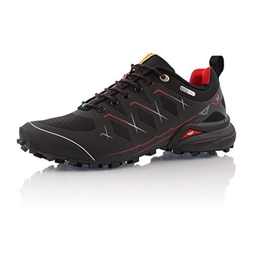 Fusskleidung® Damen Herren Laufschuhe wasserfeste Runners leichte Trekkingschuhe Schwarz Rot EU 42