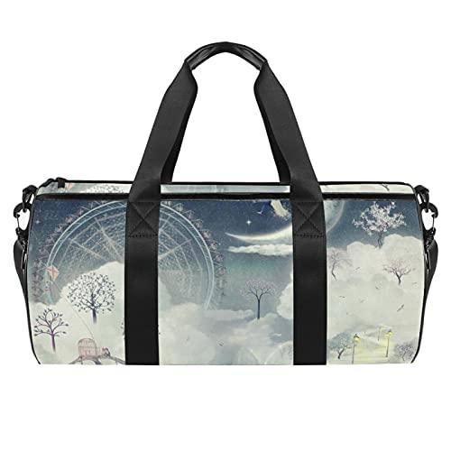 Bolsa de deporte de gimnasio Weekender Duffel para las mujeres Space Rockets Planet Pattern Travel Shoulder Bag