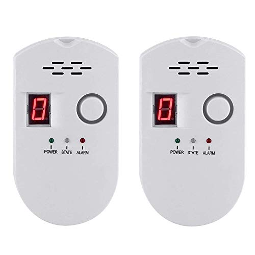 Natural Gas Detector, Gas Leak Detector, Household Propane Leak Detector for Home Kitchen (White-2PCS)