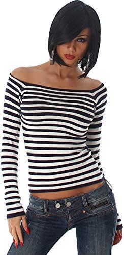 Jela London Damen Kurzer Pullover Stretch Feinripp Streifen Eckiger Ausschnitt Langarm Slim-fit Skinny Pulli, Blau 34 36 38