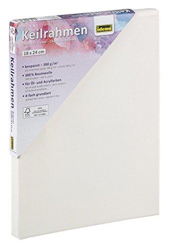 Idena 60030 - Keilrahmen mit Leinwand aus 100{ee5f0d286edeab9357fe4a4efdd35c180230962267ab5268d75a2c9420525939} Baumwolle, 380 g/m², FSC zertifiziert, für Öl- und Acrylfarben, ca. 18 x 24 cm, weiß