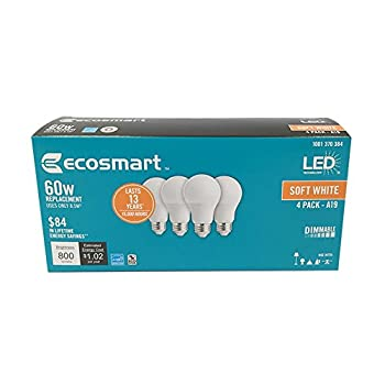 EcoSmart 60W Equivalent Soft White A19 Energy Star + Dimmable LED Light Bulb  4-Pack