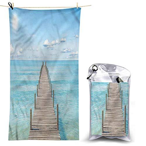 Toalla de baño de microfibra Ahuimin, paisaje, río cielo y sol, 63 x 81 pulgadas, toalla de baño de microfibra súper absorbente y ligera para playa, piscina, spa, baño, baño, viajes
