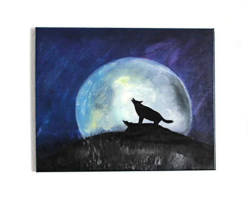 Wolfsbild Lunavio Wolf vor Mond Acrylbild