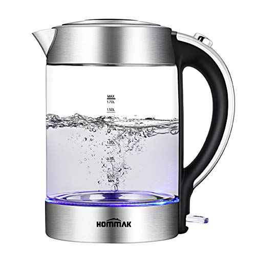 Hommak Glass Electric Kettle, 1.7L Electric Kettles Cordless with LED Light, 2200W Quiet Fast Boil Eco kettle, BPA Free, Boil-Dry Protection, Auto Shut-off, Stainless Steel Inner Lid & Bottom, Silver