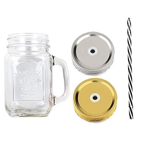 ana® - 6 Stück Trinkgläser Henkelgläser COUNTRY STYLE | mit Schraubdeckel und Strohhalm | 48 cl (Ø 7,5 x 13,5 cm)