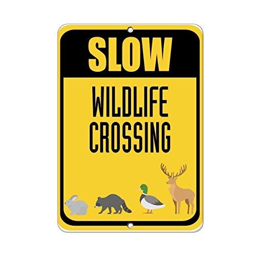 HONGXIN Cartel de metal vintage de Slow Wildlife Crossing para el hogar, bar, bar, garaje, decoración, regalos, banda, cerveza, huevos, café, supermercado, granja, jardín, dormitorio