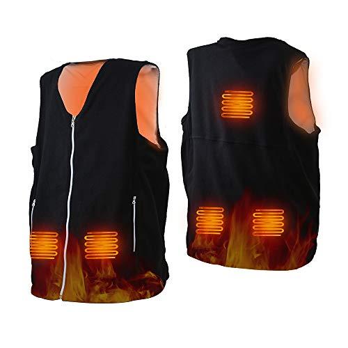 HOPAI Beheizte Weste Elektrische Beheizte Jacke USB Lade Heizweste für Herren Damen, Beheizbare Weste Warm mit 3 Fakultativ Temperatur für Outdoor-Aktivitäten (L)