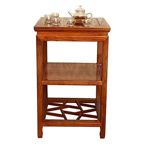 Home&Selected Furniture/Chinees massief houten bijzettafel woonkamer kleine vierkante tafel sofa corner tabel 2-dieren opslag Shelf theetafel, 17,3 inch x 17,3 inch x 27,5 cm