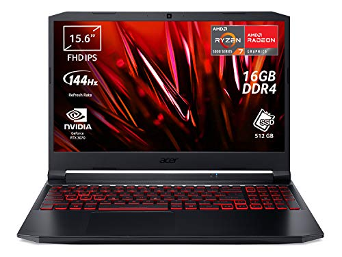 Acer Nitro 5 AN515-45-R2HS PC Gaming Portatile, Processore AMD Ryzen 7 5800H, Ram 16 GB DDR4, 512 GB PCIe NVMe SSD, Display 15.6' FHD IPS 144 Hz LED LCD, NVIDIA GeForce RTX 3070 8 GB, Windows 10 Home