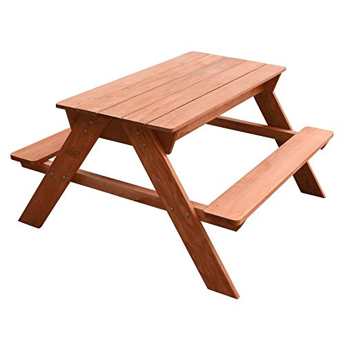 Beauty.Scouts Kinder Picknicktisch mit Wasser und Sand Isla aus Hemlock Holz in braun 89x89x50,5cm Gartentisch Kinderpicknicktisch Kindertisch