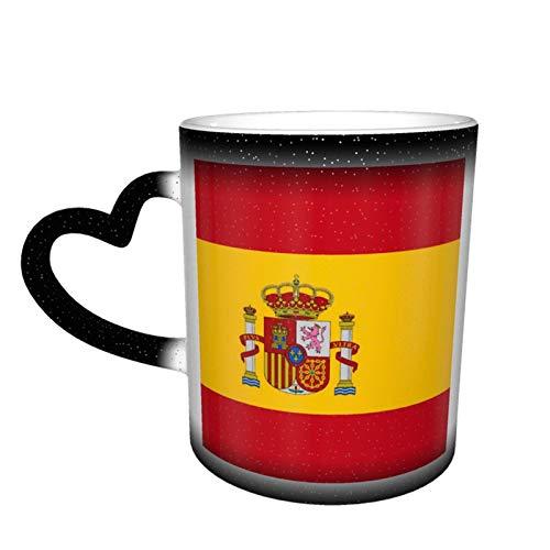 Taza de café con diseño de bandera de España personalizada, de cerámica, sensible al calor, ideal para regalo de cumpleaños