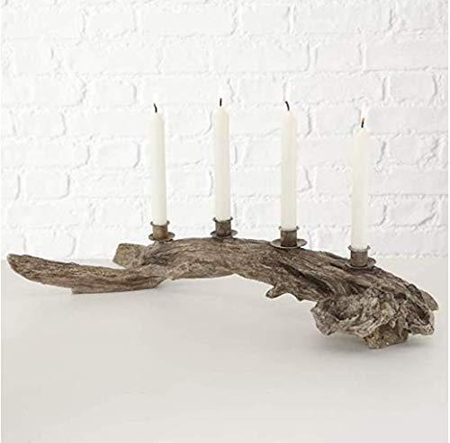 HYDO Adventskranz Kerzenleuchter Kerzenhalter Kerzenständer Oskar Kunst 4-armig dekorativ künstlerisch elegant L62cm Natur