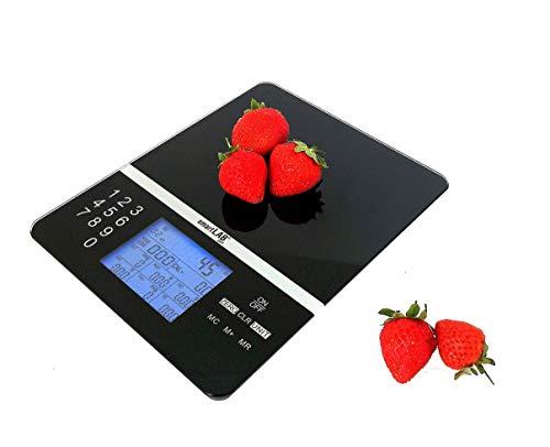 SmartLab Diet Báscula de Cocina Digital | Báscula Nutricional para el Análisis Nutricional Alimentos | hasta 1000 Alimentos Diferentes | Ideal para Controlar la Dieta, Deportistas, Diabéticos