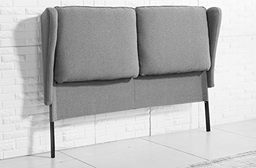 Cabecero orejero para dormitorio modelo PLAZA tejido Elegance color gris ceniza – Sedutahome