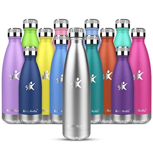 KollyKolla Botella de Agua Acero Inoxidable, Termo Sin BPA Ecológica, Botellas Termica Reutilizable Frascos Térmicos para Niños & Adultos, Deporte, Oficina, Yoga, Ciclismo, (500ml Plata)