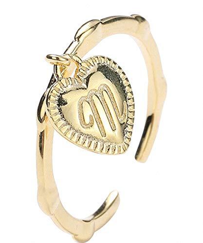 Lotus Fun S925 Sterling Silber Ring Stilvolle Vergoldet Buchstabe M Liebe Schlagring Schwanzring Einstellbarer öffnen Ring Temperament Schmuck für Frauen und Mädchen