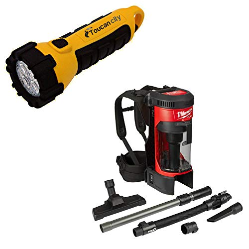 Toucan City LED Flashlight and Milwaukee M18 FUEL 18-Volt Lithium-Ion Brushless 1 Gal. Cordless 3-in-1 Backpack Vacuum (Tool-Only) 0885-20