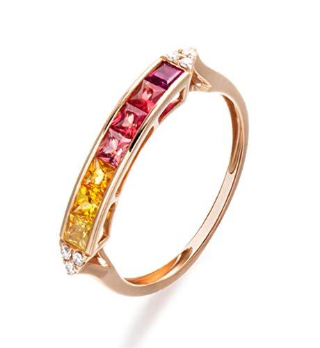 KnBoB Damen 0.892ct Blauer Saphir Ringe Quadrat Form Rechteckig Row Bohren 18 Karat Gold Trauringe Ringe Gr. 60 (19.1)