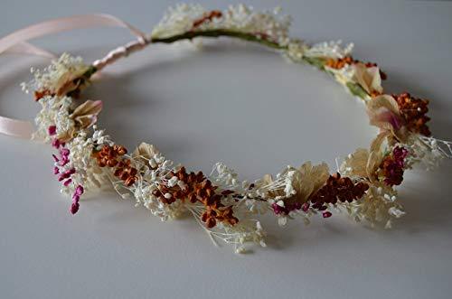 Corona de flores preservadas niña