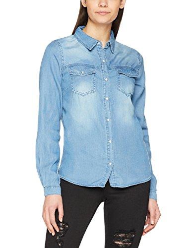 Vila Clothes Damen VIBISTA Shirt/SU-NOOS Hemd, Blau (Medium Blue Denim Wash: Clean), M