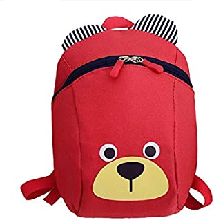 Cute Small Bear School Bag Cartoon For Kids-Red Anti Lost Safety For Unisex Red
