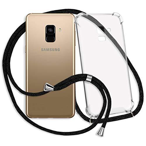 mtb more energy® Handykette kompatibel mit Samsung Galaxy A8 2018 (SM-A530, 5.6'') - schwarz - Smartphone Hülle zum Umhängen - Anti Shock Strong TPU Hülle
