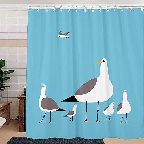 Duschvorhangs Taube Duschvorhang Für Badewanne 150X180 cm Beschwertem Saum Polyester Stoff Anti Schimmel Wasserdicht Waschbar Mit 12 Haken