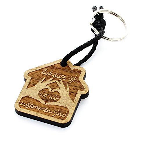 Lieblingsmensch Schlüsselanhänger aus Holz - Modell: Zuhause ist.