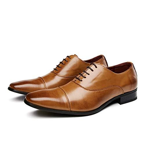 CAIFENG Zapatos de vestir Oxford para hombre con cordones y suela de goma de cuero auténtico, punta cuadrada, costura superior baja, hilo de costura doble (color: marrón, talla: 42 EU)