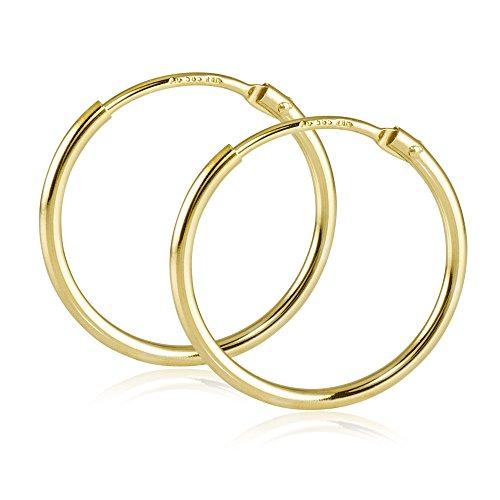 MATERIA Damen Creolen 585 Gold Ohrringe 17mm Goldcreolen klein flexibel mit Geschenk-Box Made in Germany #GO-7