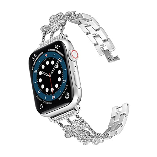 Correa de acero inoxidable con diamantes para Apple Watch 38 mm 40 mm 42 mm 44 mm Pulsera de mujer para iWatch Series 6 SE 5 4 3 2 1