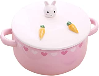 Bowl Sets Soup Bowl Ceramic Bowl Instant Noodle Bowl Bowl With Lid Mixing Bowl Cartoon Style Animal Cover Pink Gift Bowl Sets (Color : Pink, Size : 158cm)