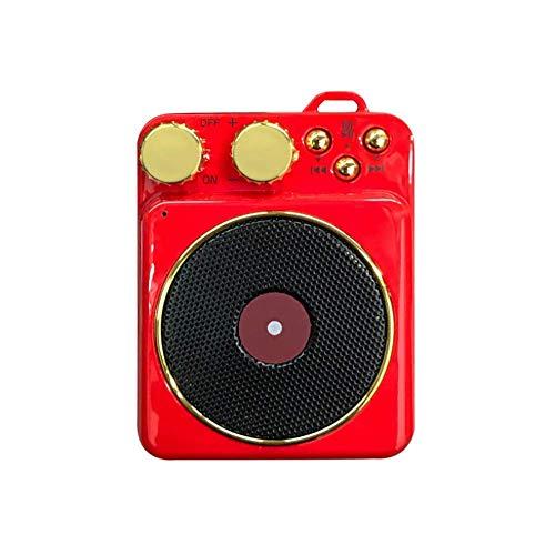 YAOJP Mini tragbarer Lautsprecher, Plattenspieler für Vinyl mit Bluetooth, Creative Retro Card Atomic Plattenspieler, Player, Subwoofer, Rot
