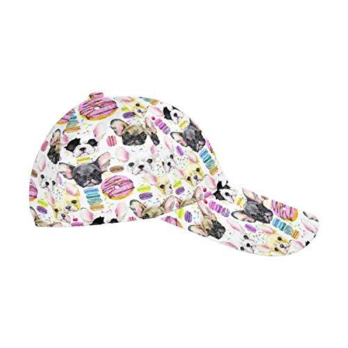 InterestPrint Puppy French Bulldog with Sweet Dessert Men Women Cotton Adjustable Twill Dad Cap Classic Baseball Hat