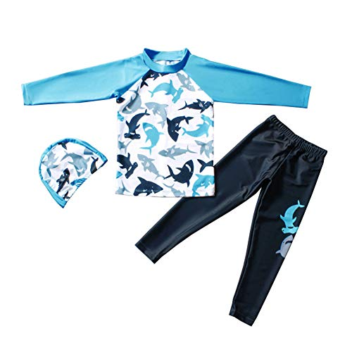 Digirlsor Kids Boys Two Piece Rash Guard Swimsuit Bathing Suit Long Sleeve Sunsuit Swimwear Set with Cap,2-10 Years Blue