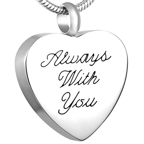 GYBDD Ashes Necklace Keepsake Jewelry Keepsake Cremation Urn Necklace Heart Keepsake Urn Jewelry Stainless Steel Heart Shape Memorial Pendant Necklace Always with You My Love
